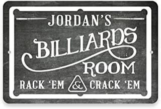 Pattern Pop Personalized Chalkboard Billiards Room Metal Room Sign (8x12 Inches)