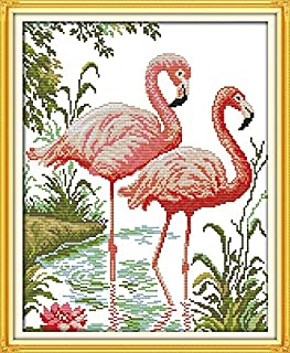 Joy Sunday Cross Stitch Kits, Two Flamingos,14CT Counted, 33cm×40cm or 12.87