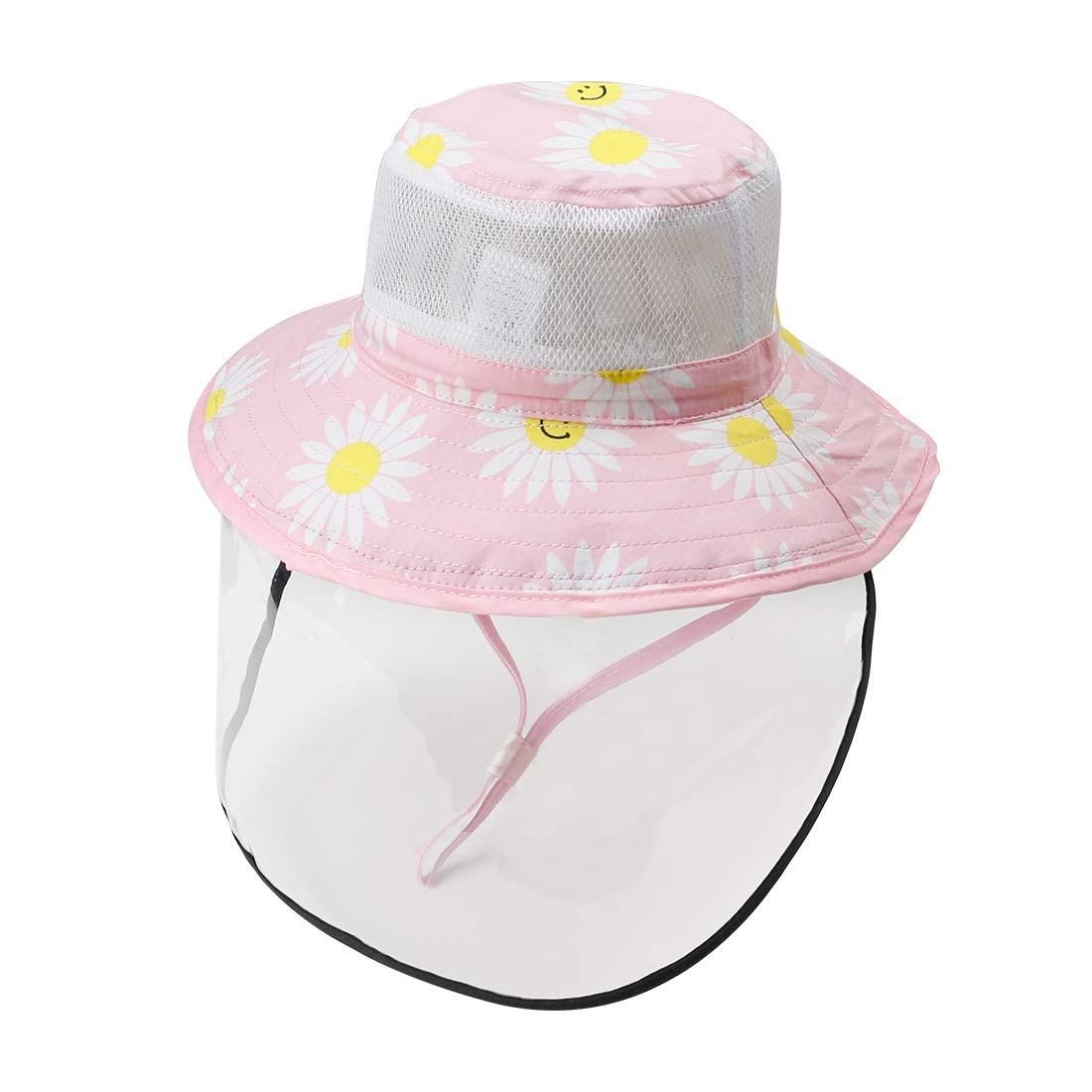 0-12Y Happy Cherry Kids Hat Wide Brim Baby Sun Hat Detachable Protective Cover Toddler Bucket Hat