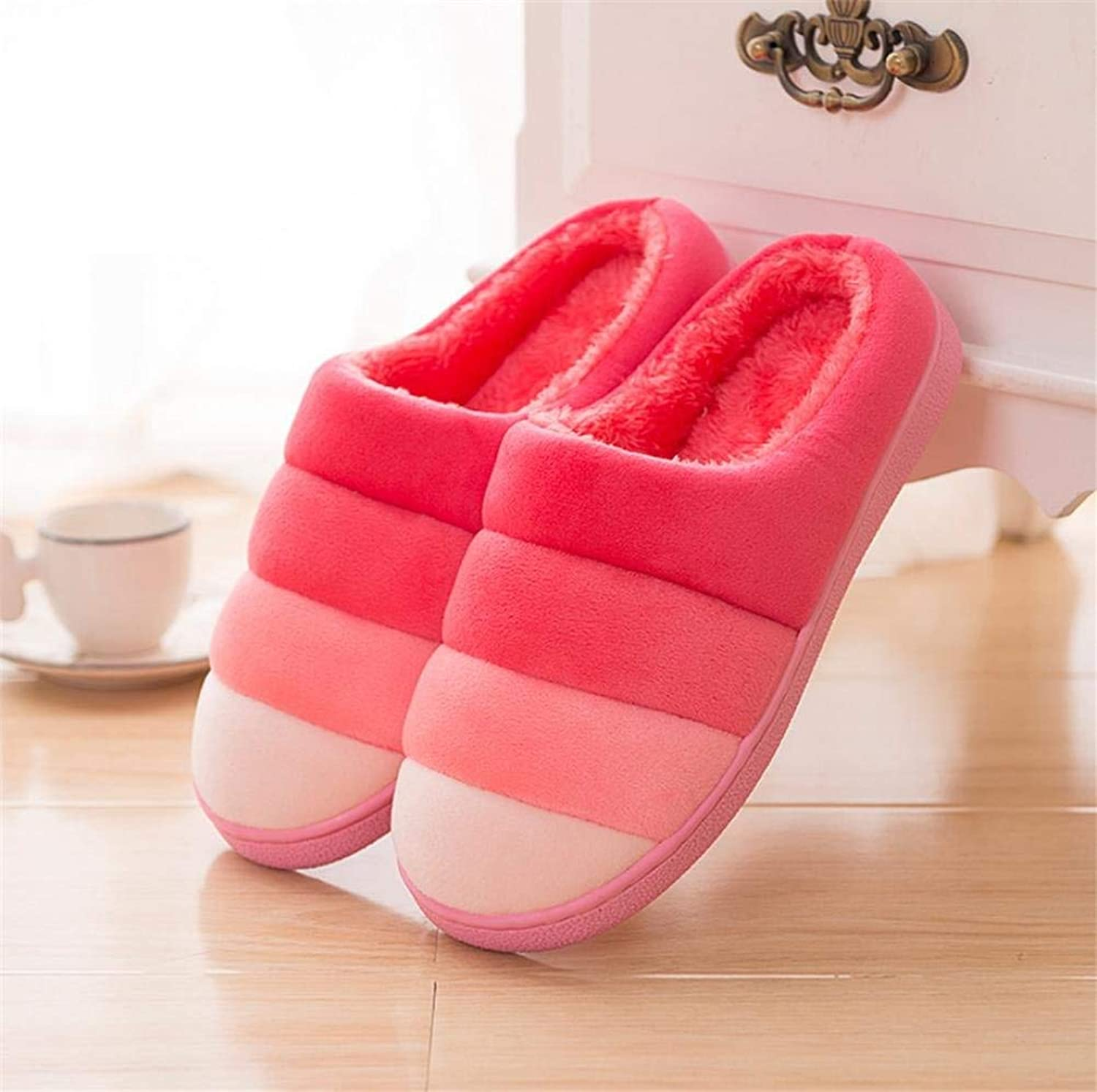 Lady Slippers Women 's Home Cotton Slippers Indoor Keep Warm Stripe Casual Slippers Pink Purple Red Mixed color Personality Quality for Women
