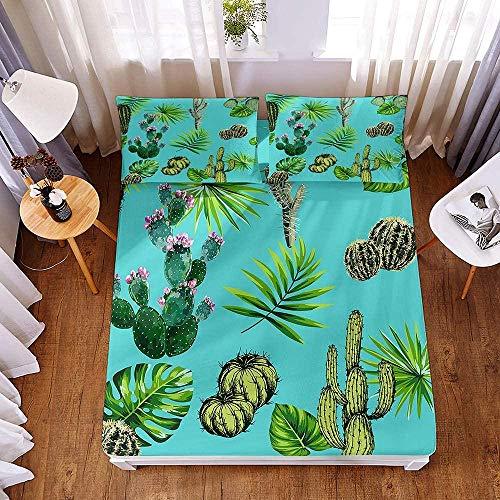 Juego de Cama Reversible ,,Juego de sábanas y fundas de almohada con estampado de plantas tropicales 3D, sábanas de microfibra con bolsillo profundo para cama doble tamaño king-El 160x200x30cm_7