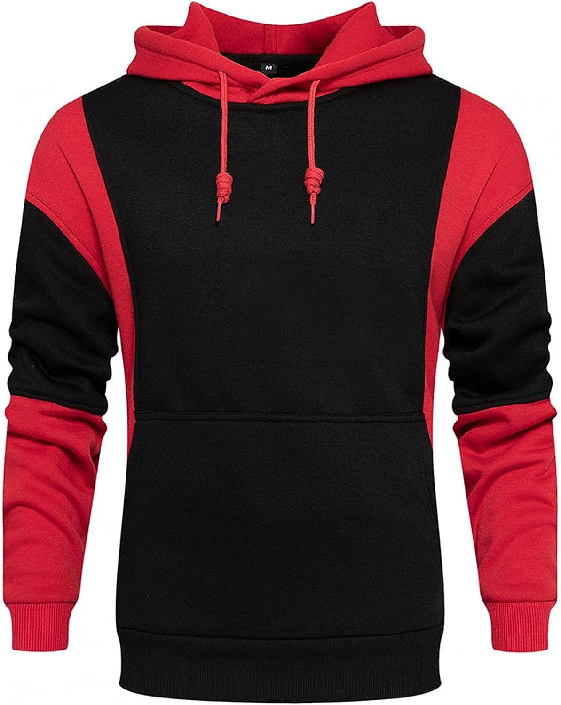 Men's Hoodies Pullover, Men's Hipster Hip Hop Hoodie Novelty Color Block Slim Tshirt Casual Long Sleeve Warm Sweatshirts