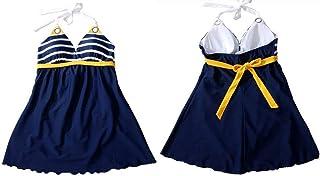 【Upwing】【体系カバー水着】ボーダー柄 ワンピース水着 レディース 紺色 白色 黄色 しましま よこしま Mサイズ Lサイズ XLサイズ 9号 7号 11号 ブルー ホワイト