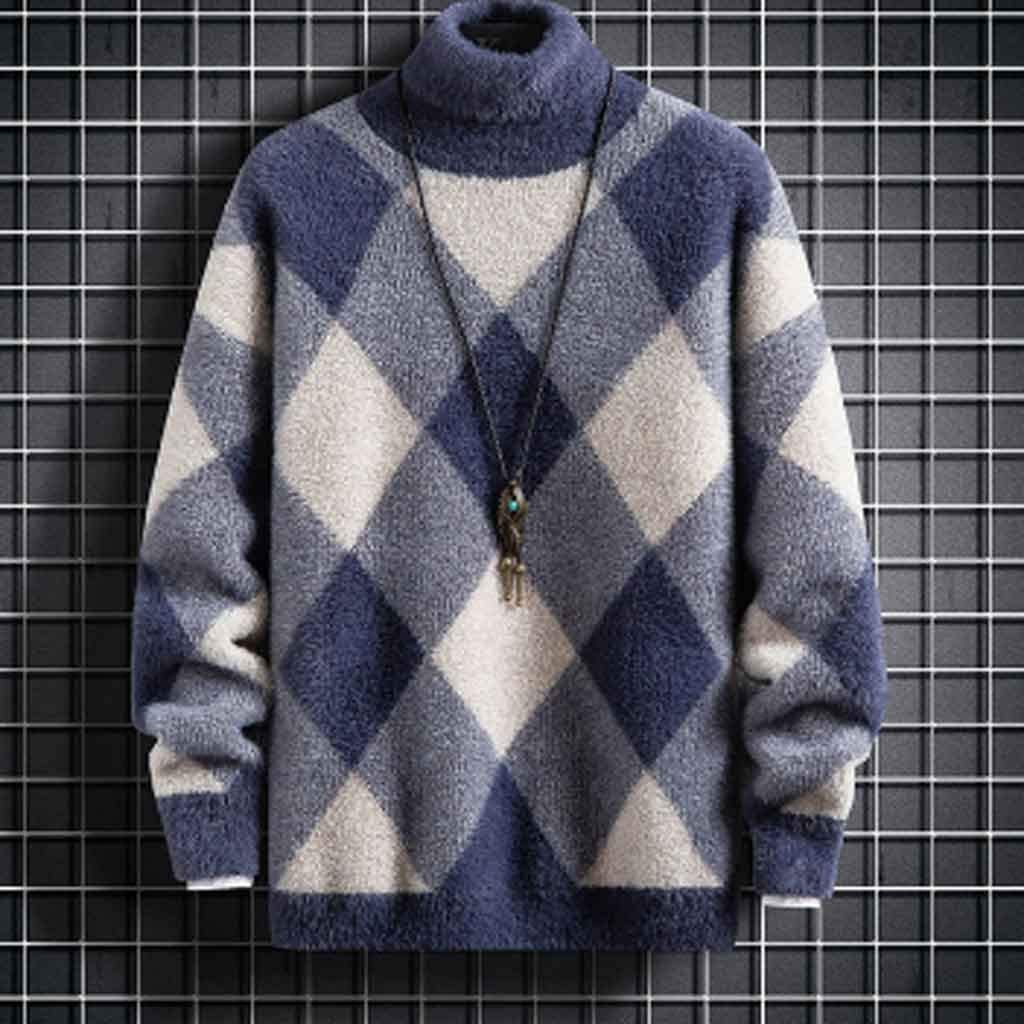 ZYING Super Warm Mink Cashmere Sweater Men New Winter Turtleneck Pullover Jumper Soft Thick Pull Homme Fashion Mens Christmas Sweaters (Color : C, Size : XXL Code)