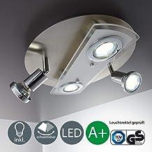 Lámpara de techo redonda Ø 290mm I 4 x 3 W bombillas LED giratoria GU10 I Metal y cristal I Foco LED para techo I Color de luz blanco cálido I 230 V I IP20