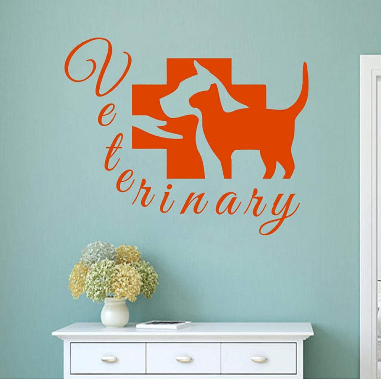 qscwdv Grooming Salon Wall Decal Pet Veterinary Services Vinyl Dog Cat Hospital Shop Removable Stickers Veterinary Clinic Design4252Cm