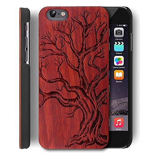 YUANQIAN - Carcasa para iPhone 6S, diseño de Madera con Texto en inglés Slim-Fit, Color Negro, Compatible con Apple iPhone 6/6s, Color marrón