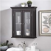 خزانة الحائط Glitzhome الخشبية للحمام من الخشب مع أبواب زجاجية مزدوجة ورف قابل للتعديل