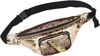 MHJY Sequin Fanny Pack Glitter Waist Bag Reversible Sequin Waist Pack Belt Bag for Festival Christmas Party (PU Leather Back Side)