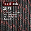 PSKOOK Survival Paracord Parachute Fire Cord Survival Ropes Red Tinder Cord PE Fishing Line Cotton Thread 7 Strands Outdoor 20, 25, 100 Feet (Black Red, 25)