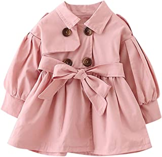 Boys Girls Windproof Trench Coat 0-5 Years Old Fashion Double Breasted Solid with Belt Slim Overcoat Jacket