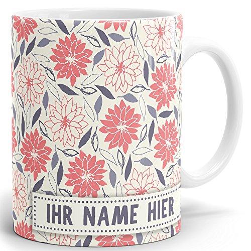 Drucksaal Namenstasse-Tasse-Becher-Kaffeetasse-mit Name-mit Namen individuell und persönlich Motiv Blumenstreuer Tasse mit Panoramadruck