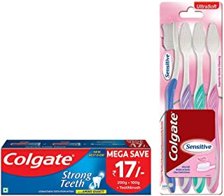 Colgate Strong Teeth Anticavity Toothpaste with Amino Shakti - 300gm with Free Toothbrush and Colgate Sensitive Toothbrush - 4 Pcs