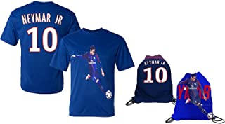 Neymar Jr Jersey Lightweight Breathable T-Shirt Youth Sizes Kids Gift Set Bonus Soccer Backpack Packaging