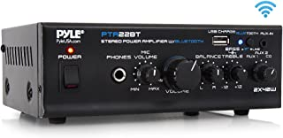 Bluetooth Mini Blue Series Home Audio Amplifier - Compact Desktop Home Theater Stereo Amplifier Receiver with USB Charge Port | Pager & Mixer Karaoke Modes | Mic Input (40 Watt x 2) | Pyle PTA22BT
