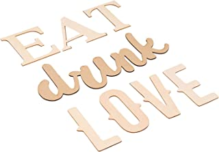 Wood Quote Signs - Eat Drink Love Wood Letter Signs, Drawing Stencil Included, for Home Decoration and Craft DIY