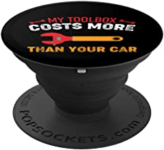 Funny Mechanic Shirt - My Toolbox Costs More Than Your Car PopSockets Grip and Stand for Phones and Tablets