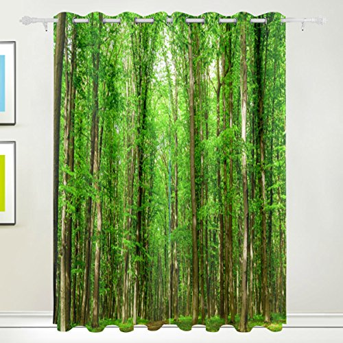 Rideau de fenêtre, Luxe Tropical Forest arbres Vert Imprimé Isolation thermique épais Super Doux Tissu de polyester Décoration de maison avec œillet 2 panneaux pour chambre à coucher Salon d