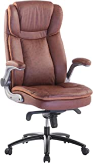 brown leather reclining office chair