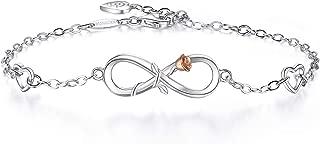 Womens Bracelet 925 Sterling Silver Infinity Rose Gold Rose Flower Charm Link Bracelet
