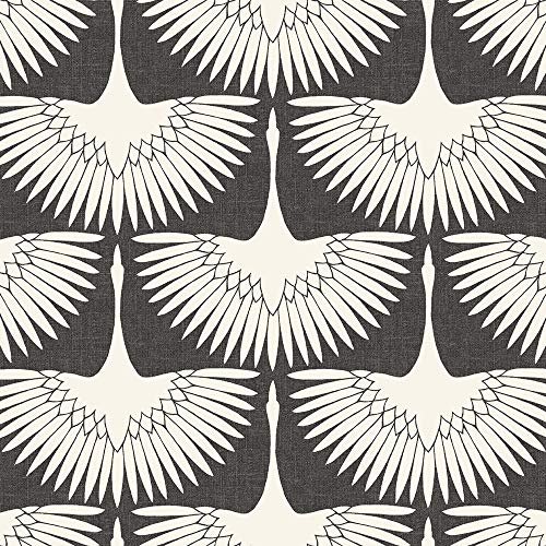 Tempaper Storm Gray Feather Flock | Designer Removable Peel and Stick Wallpaper