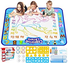 Aqua Magic Mat Boys Girls Toys【LARGER AREA for Doodle】 ---- Larger mat size 39.5 X 31.5 inches with neat sized letters printed on side, leaving more room for your kids' doodle art. Great learning toys for 3 4 5 6 year old girls Water Doodle Mat【Reusa...
