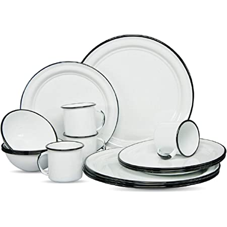 Cinsa 16 Piece. Enameled Dinnerware Camping /Outdoor Set for 4 (White) Includes Plates, bowls and cups. Lightweight, heat resistant, easy to clean,diswasher safe.