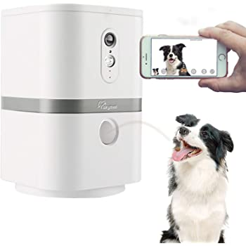 SKYMEE Petalk AI II Dog Camera Automatic Treat Dispenser, WiFi Full HD Pet Camera with 180° Pan Full-Room View,Night Vision,Two Way Audio for Dogs and Cats,Compatible with Alexa (2.4G WiFi Only)