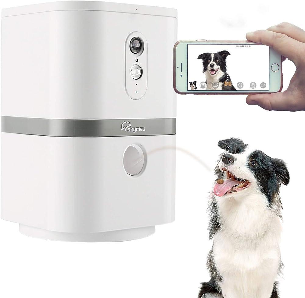 Skymee - videocamera per animali: hd, wifi, lancio croccantini con audio bidirezionale, visione notturna Skymee Petalk AI II