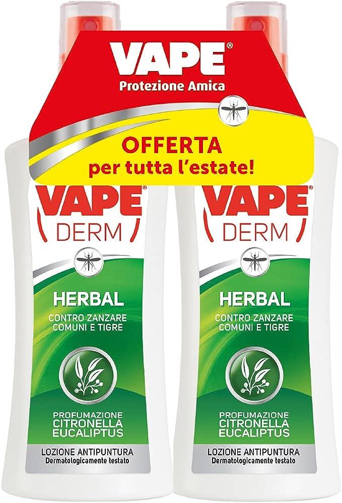 46 opinioni per Vape Derm Vape Derm Herbal Repellente Zanzare Comuni e Tigri, Lozione Bambini e
