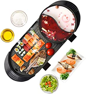 Upgraded Electric Indoor Grill, 6.56ft Cable 2000W Shabu Shabu 2L Hot Pot With Electric Indoor And Ourdoor Korean BBQ Smokeless Grill Made Of Medical Stone Non-Stick Pan For Gatherings