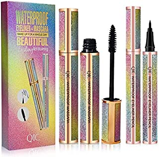 4D Silk Fiber Lash Mascara with Liquid Eyeliner Value Pack ,Waterproof Mascara,Lengthening MascaraBlack,Smudge-Proof,Long...