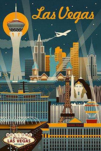 Las Vegas, Nevada - Retro Skyline