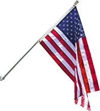 Annin Flagmakers Model 238 and Flagpole Set Estate kit-6 ft. American, 3x5, 2 Section White Spinning Pole that Rotates 360...
