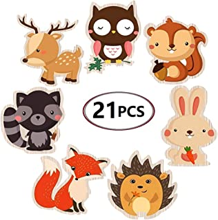 Mity rain Double-Sided Woodland Creatures Cutouts - Forest Animal Centerpiece for Woodland Theme Baby Shower or Birthday Party - Set of 21