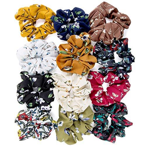 ZOEON 12 Piezas Scrunchies de Pelo Flor de Gasa Elasticos Lazos de Pelo