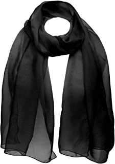 BasicSense Chiffon Scarf Sheer Soft Plain Neck Wrap for Women Neatly Stitched