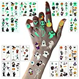 LessMo Halloween Glow in the Dark Tattoos, 10 Sheets Luminous Tattoo Stickers for Kids, Waterproof, Skeleton Pumpkin Cartoon, for Halloween Eve, Costume, Trick or Treat Party, Kids Gift