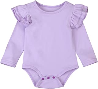 Infant Baby Girl Basic Ruffle Long Sleeve Cotton Romper Bodysuit Tops Clothes