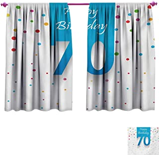kangkaishi 70th Birthday Room Darkening Wide Curtains Colorful Polka Dots Backdrop and Happy Birthday 70 Years Quote Special Day Waterproof Window Curtain W72 x L45 Multicolor