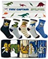 Tiny Captain Boy Dinosaur Socks 4-7 Year Old Boys Crew Cotton Sock Age 5 Gift (Medium, Green)