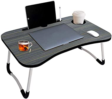 Chicvilla EthnicMultipurpose Wooden Laptop Table for Breakfast,Study Foldable Table (Light Black Color)