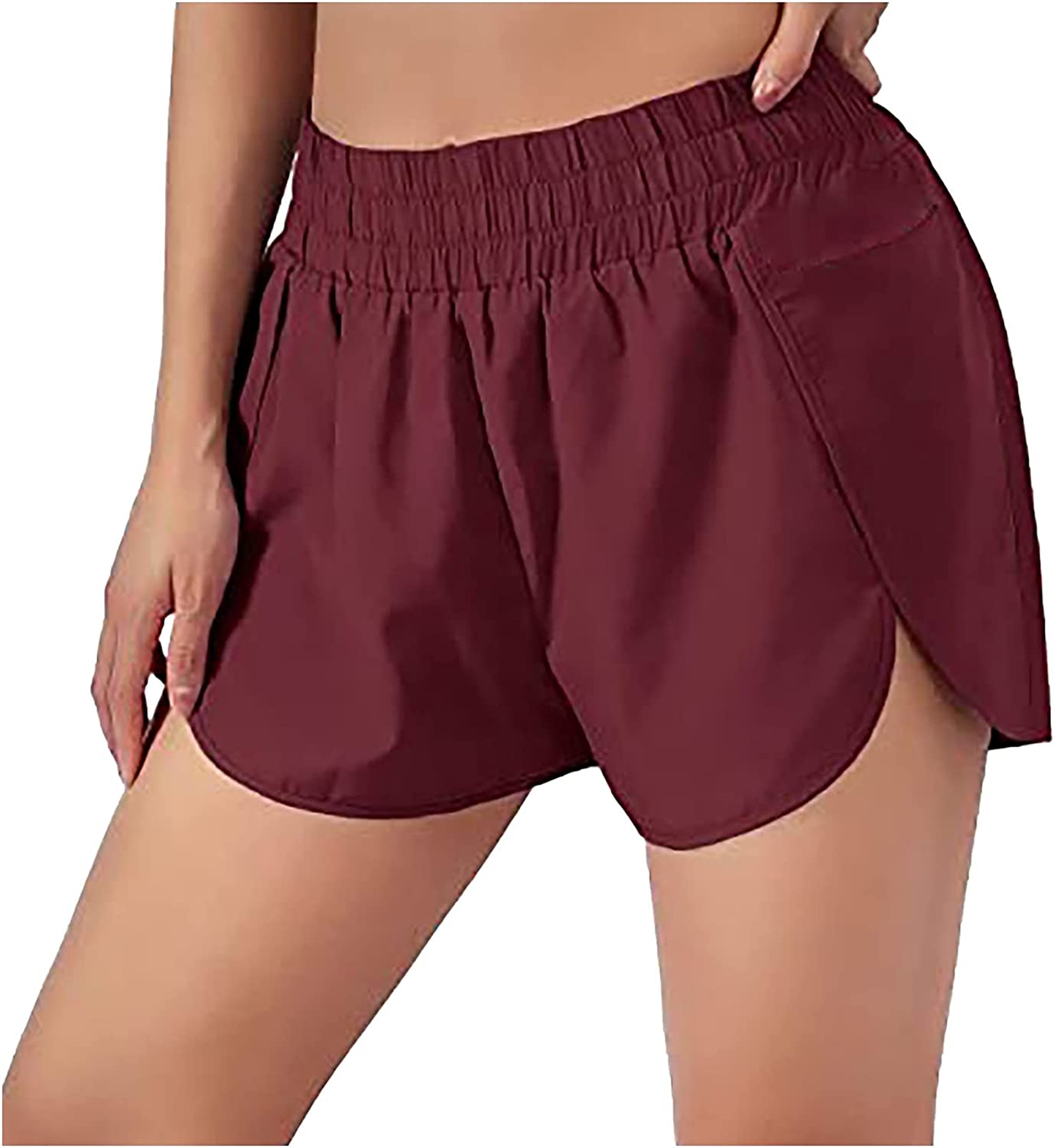 Athletic Yoga Shorts for Women Running Shorts with Pocket Elastic Waist Loose Quick-Dry Workout Sports Gym Shorts
