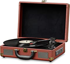 Bluetooth Compatible Classic Vintage Turntable - Retro Briefcase Style Record Player Speaker System W/ 3-Speed, Vinyl to Digital MP3 Converter, Phono USB SD Slot, Aux, RCA - Pyle PVTTBT9BR (Brown)
