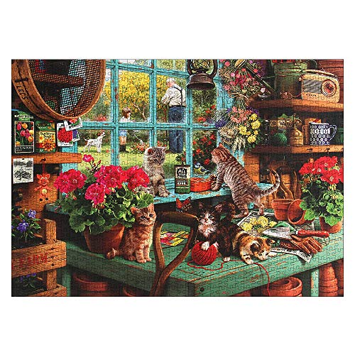 CHAOCHI Puzzle 1000 Pezzi Adulti,Gioco di Abilità per Tutta la Famiglia,Regalo per Amore e Amico,Gatto sul Davanzale(70 * 50cm)