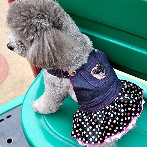 Fenteer Perro Cachorro Overol de Mezclilla Pink Heart Glitter Polka