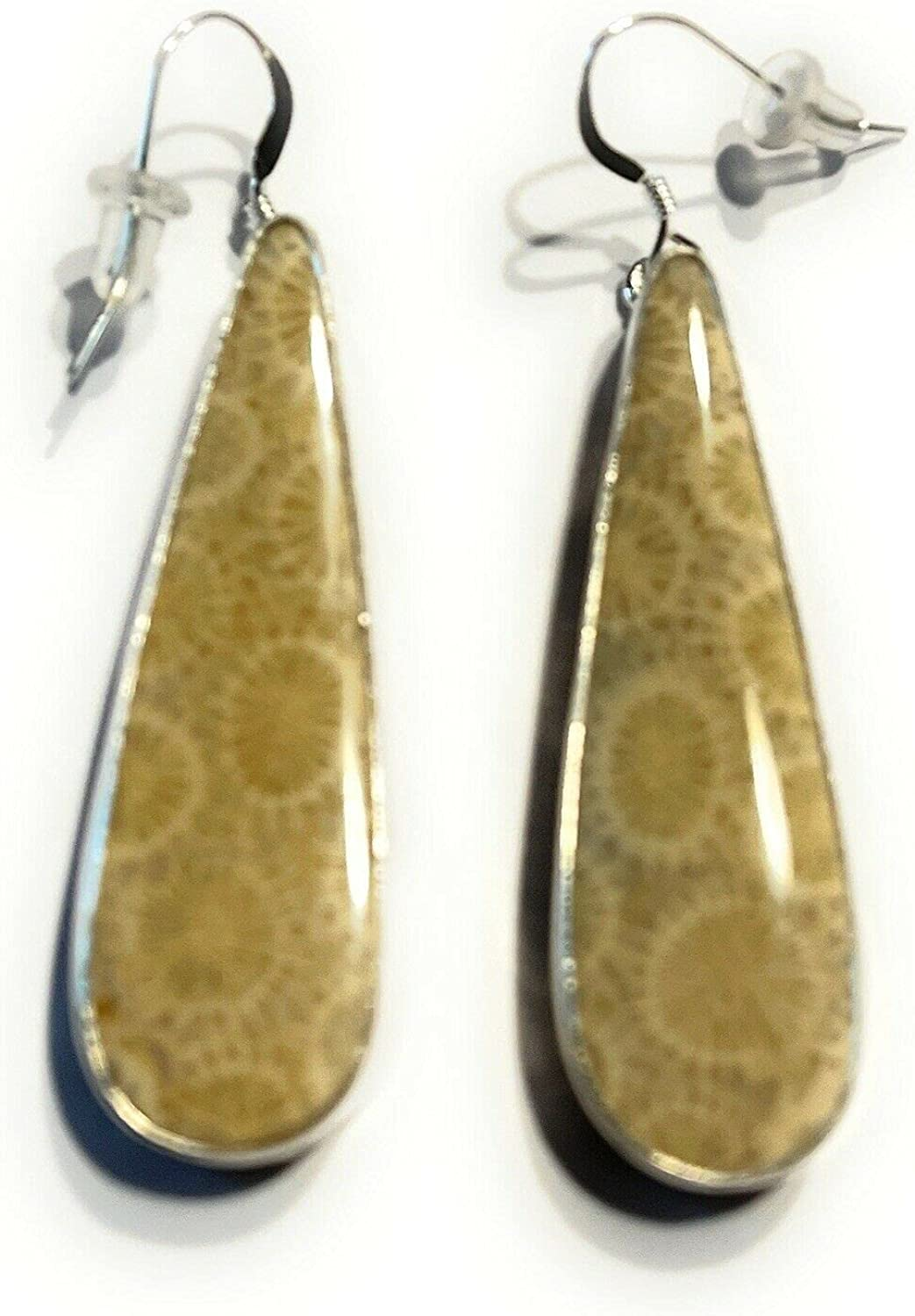 Navajo Fossilized Coral Sterling Signed Earrings Dangle 1 year warranty Challenge the lowest price Silver
