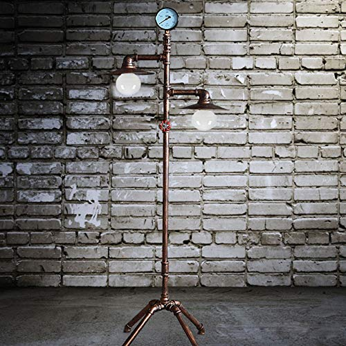 UWY Industrial Floor Lamp,Wrought Iron Retro Standing Lamp,Tall Stand Up Lamp,Farmhouse Reading Lamp,For Study Living Room Bedroom