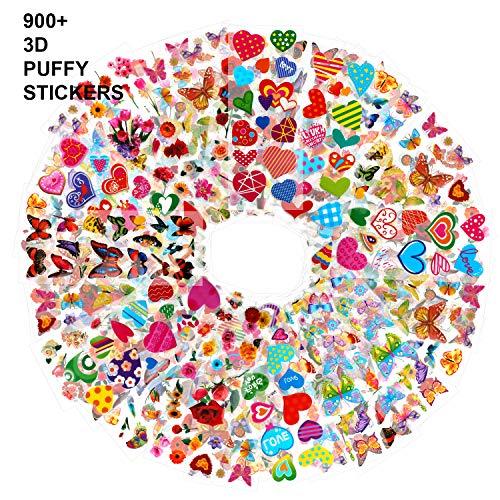 HOWAF Pegatinas para niños, 900+ 50 Hojas Diferentes, 3D Pegatinas hinchadas, para Infantil de Fiesta cumpleaños Regalo Niño Niña Gratificantes Scrapbooking, Flor, Mariposa, corazón