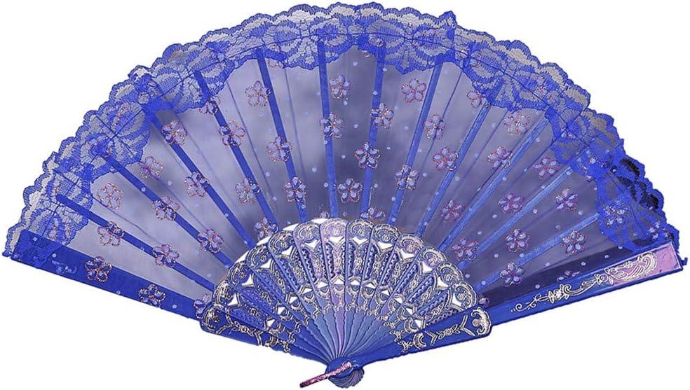 Shmei Chinese Style Large Lace Silk Folding Hand Held Flower Fan